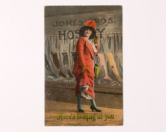 FREE SHIPPING: Vintage Risque Postcard - Here's Looking At You -- Humorous Unmailed Antique Postcard