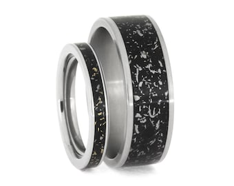 Black Stardust Wedding Band Set, His And Hers Meteorite Ring Set Made With Enamel, Titanium Matching Ring Set With Yellow Gold