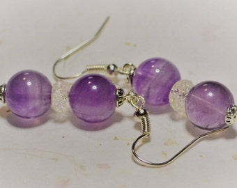 Genuine Amethyst Gemstone Round Bead Dangle Drop Earrings - Sparkle! Silver Steel Hook
