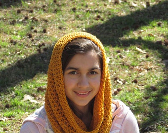 Mustard Cowl, Mens Scarf, Yellow Cowl, Gold Cowl, Gold Neckwarmer, Womens Scarf, Circle Scarf, Infinity Scarf, Citrine Scarf, Mustard Scarf