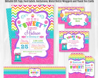 Candyland Invitation - Candy Land Birthday Invitations - Candy Party Invitations - Candyland Party Thank You - INSTANT DOWNLOAD! - Edit NOW!