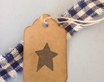 50 Small Primitive Star Stamped Hang Tags Coffee Stained Gift Tags Strung Tags