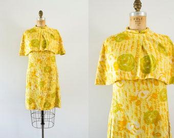 1960s Beauxbatons sunshine floral dress / 60s matching caplet