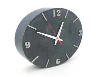 Ellipse Wall clock Wood Grey Silver, Gray Wall decor, Unique gift, Home Decor Ellipse clock, gift for Mom