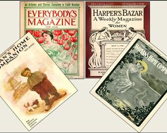 4 Miniature   '1900's'   Magazines  -  Dollhouse 1:6th  1/12th   1/24th  1/48th  scale