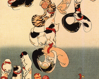 Cats Forming the Characters for Catfish by Utagawa Kuniyoshi