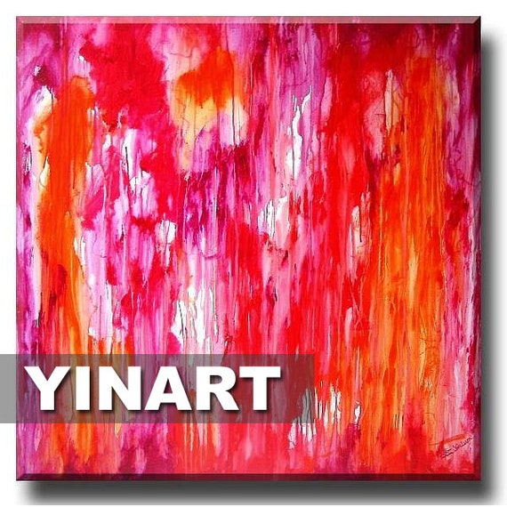 Pink Orange abstract art, landscape painting, Waterfall Global Warming Art