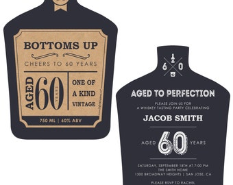 60th Milestone Birthday - Aged to Perfection Invitations - Personalized Birthday Party Invites  - Set of 12