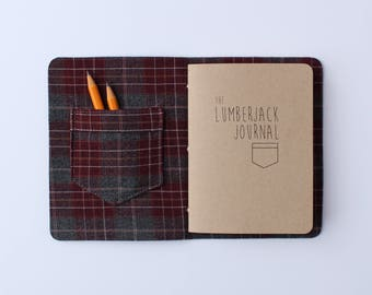 Lumberjack Journal // brown leather and maroon plaid, book, lumberjane, pocket, notebook, journal, blank journal, blank book, travel journal