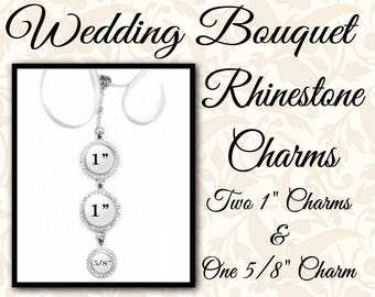 Rhinestone Bridal Bouquet Photo Charm on Jeweled Chain With Two Large Charms and One Small, Wedding Bouquet Memento, Shiny Gold or Silver