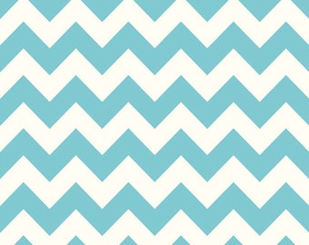 Aqua Chevron Fabric Riley Blake Basics c320 20 Aqua Chevron - Quilt Fabric -Blue Fabric - Turquoise Fabric - White Fabric Cotton Chevron