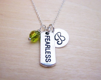 Fearless Charm Swarovski Birthstone Initial Personalized Sterling Silver Necklace / Gift for Her - Fearless Necklace