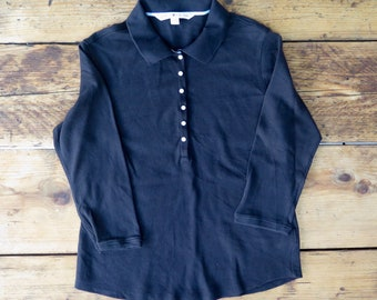 Tommy Hilfiger black long sleeve polo shirt