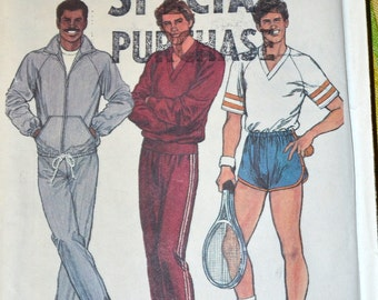 Vintage Sewing Pattern Simplicity 5565 Men's Pull on Shorts and Pants Pullover Top and Jacket Chest 42-44  Complete Uncut