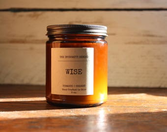 WISE- Cherry Tobacco 9 oz Candle- Scented Candle- Soy Candles - All Natural Soy - Man Candle