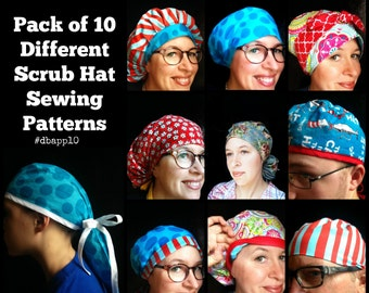 Scrub Hat Sewing Pattern ALL 10 DIY Downloadable PDF Sewing Instructions Tutorial Bouffant Men's Unisex Tieback Pixie Ponytail Reversible