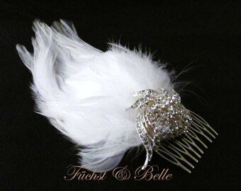 White feather and rhinestone brooch bridal wedding fascinator hair comb - Sarah