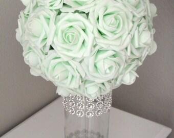 MINT  Kissing Ball. Wedding Centerpiece. Flower Ball. Pomander. Wedding Decor. Flower Girl.
