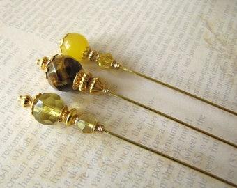 Yellow Jade Hijab Pins, Tigereye Hatpins, Gold Plated Stick Pins