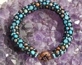 Turquoise Dance - Composite Netted Spiral Beaded Bracelet