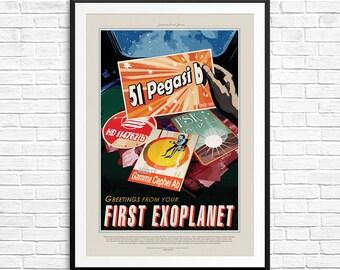 NASA 51-Pegasi b Poster, First Exoplanet Poster, Nasa Exoplanets, Visions of the Future, NASA Posters, NASA Prints, Nasa Travel posters