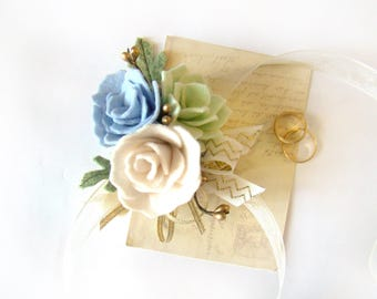 Wedding Corsage, Prom Flowers, Keepsake Flowers Mothers Corsage Wrist Corsage Custom Color Felt Flower Ribbon Tie Wedding Wristlet