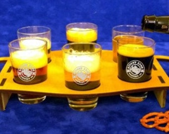 Personalized Oval Beer Flight Board with 6 glasses-Wooden beer flight caddy-Flight Board-Beer Tasting Flight-Homebrewers gift-Custom gift