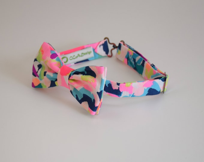 Boy's Bow Tie, Pina Colada Club pink/multi Lilly print, father/son matching ties, wedding accessory, toddler bow tie, ring bearer bow tie,
