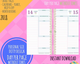 SALE! Personal Size - 2018 - Day Per Page NO TIMES Refill Calendar Only - Planner Inserts for Filofax Kikki - Dotty Design