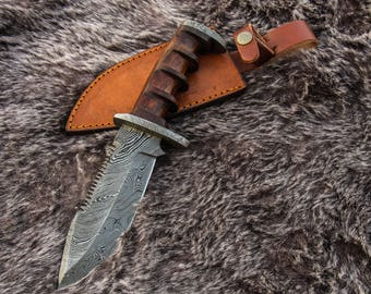 "11""Inch Custom HandMade Forged Damascus Steel Hunting Bowie Knife Fixed Blade Walnut Wood Handle W/Leather Sheath Full Tang fathers day gift"