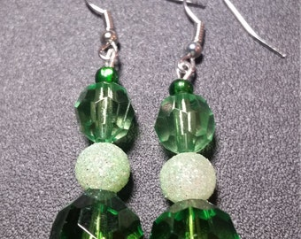 Green Faceted Beaded Handmade Earrings