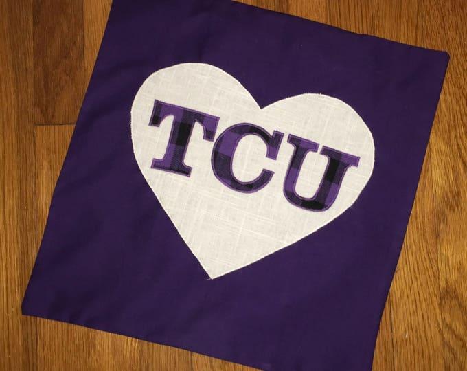 Buffalo Plaid Check Heart TCU Horned Frog Pillow 16x16 Pillow Cover TCU home Decor TCU pillow Farmhouse Decor Christmas Valentine Pillow