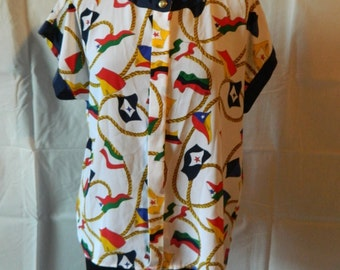 50% off  Vintage National Country Flag Blouse Button Down Size M-L