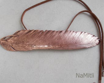 Electroforming Feather Necklace,  Feather Necklace,  Boho Feather, copper jewelry, gift for her