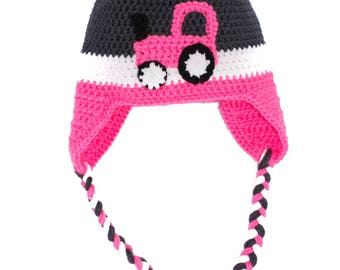 Pink Tractor Winter Hat