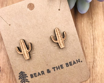 Cactus Wood Earrings / Minimalist Earring Studs