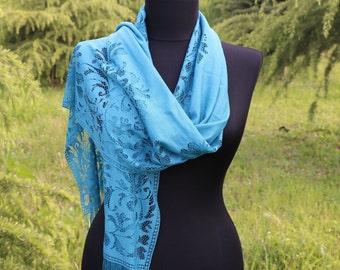 Blue Lace Scarf /Summer Scarf /  Bridesmaid Scarf / Scarf For Women / Lace Blue Scarf / Womens shawl / Bridesmaid Shawl