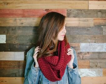 Chunky infinity scarf, infinity scarf, Merlot, maroon, scarf, fall, winter, autumn