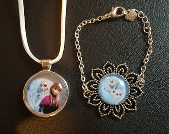 Set necklace and Bracelet Queen frozen, Elsa, Anna and Olaf on glass cabochon