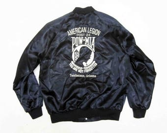 Vintage American Legion Post, POW-MIA Nylon Jacket in Black. Circa 1980's.