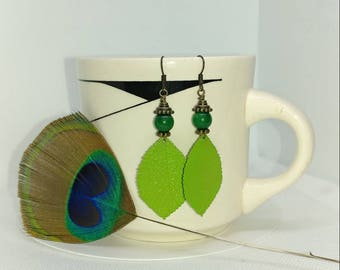 Lime green, grass green and brass dangle earrings