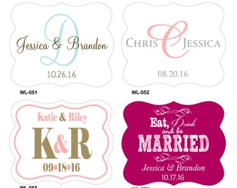 126 - 2.5 x 2 inch Die Cut Personalized Waterproof Mini Wine Bottle Wedding Labels - hundreds designs - change designs any color or wording