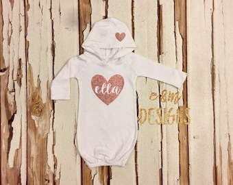White and Rose Gold Glitter Heart Newborn Hooded Gown, Baby Girl Coming Home Outfit, Newborn Gown, Monogrammed Girl Outfit, Girl Take Home
