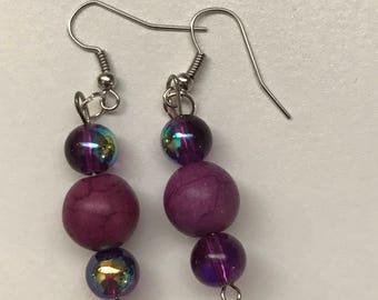Purple Iridescent Drop Earrings