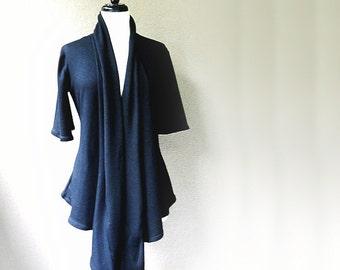 Long cardigan shirt, organic tunic top, wraparound top, handmade organic clothing for women
