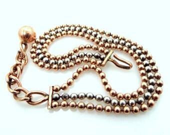 Retro Triple Strand Sterling Vermeil Bracelet