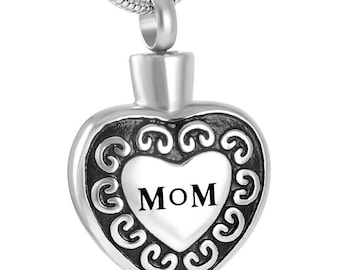 Mom in My Heart Urn Necklace / Cremation Jewelry / Mother Memorial Keepsake Pendant Necklace / Mom Heart Ashes Necklace