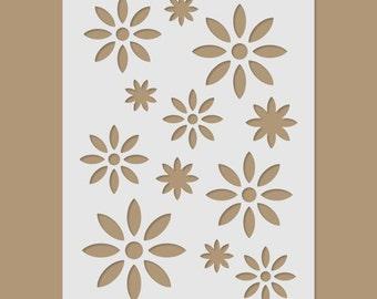 Retro Flowers Stencil