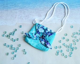 Girls Mermaid Tail Crossbody Purse / Girls Play Purse / Toddler Purse / Beach Glass and Clear Water Child's Bag