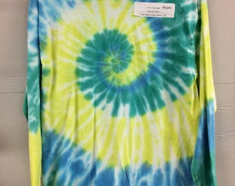 Kids 2X (18) long sleeve tie dye tee. Turquoise yellow and green spiral.
